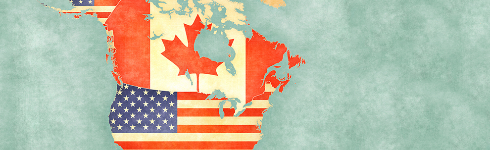 America and Canada map represented by their respective flags